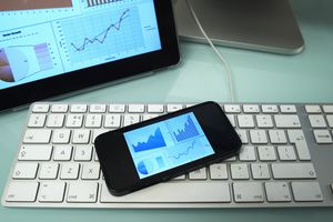Business Smartphone on laptop
