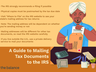 A Guide to Mailing Tax Documents to the IRS: The IRS strongly recommends e-filing if possible. Physical copies must be postmarked by the tax due date. Visit