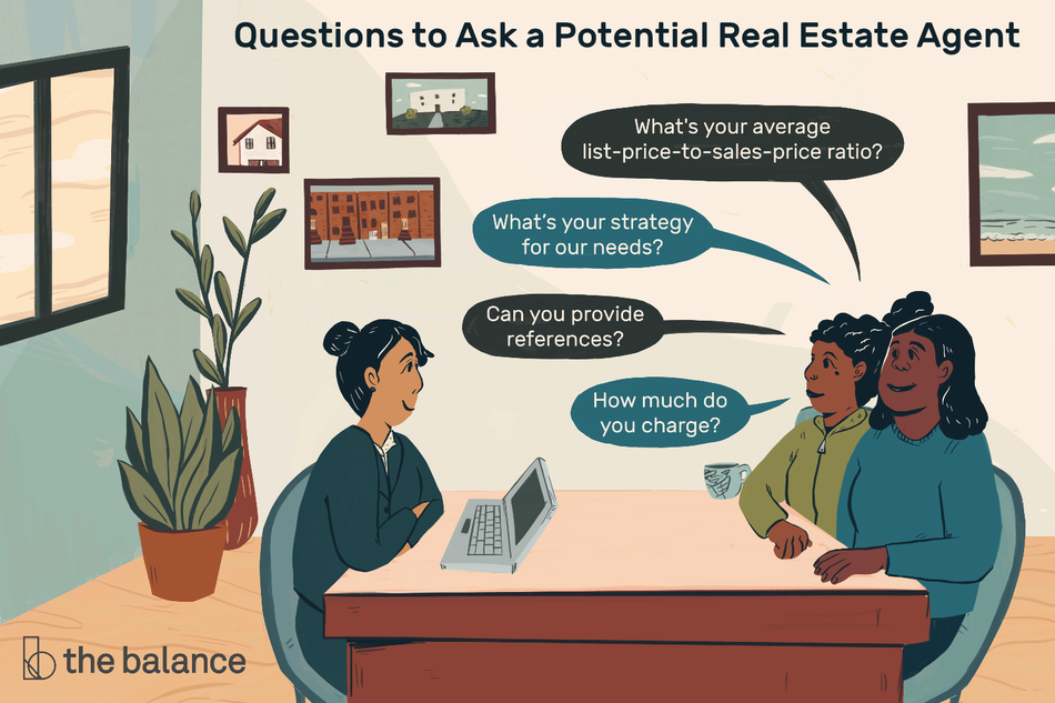 "Image shows a couple speaking to a real estate agent. Text reads: ""Questions to ask a potential real estate agent: what's your average list-price-to-sales-price ratio? What's your strategy for our needs? Can you provide reference? How much do you charge?"""