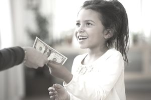 Little Girl takes a dollar