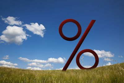 percentage sign made to look beautiful in prairie landscape