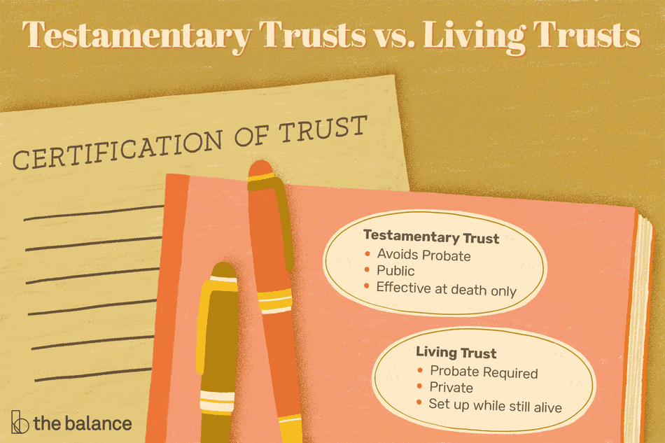 Custom illustration showing testamentary vs. living trusts