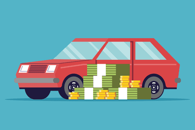 Car with money in front of it
