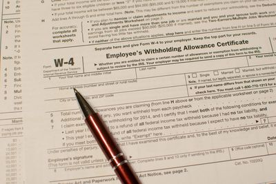 Closeup of a W-4 Employee Withholding form