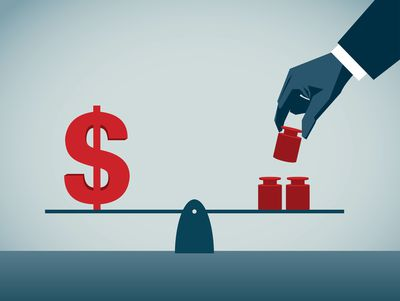 Image of a blue hand piling red blocks on a seesaw next to a dollar sign