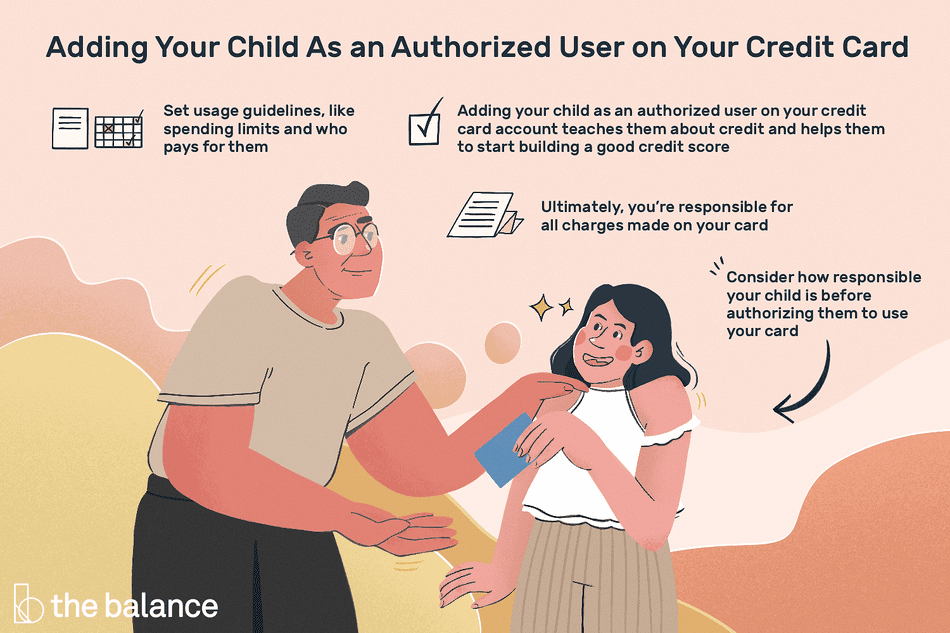 Adding your child as an authorized user on your credit card account teaches them about credit and helps them to start building a good credit score. Consider how responsible your child is before authorizing them to use your card. Set usage guidelines, like spending limits and who pays for them. Ultimately, you're responsible for all charges made on your card.