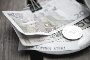 Swedish Kronor bills and a coin on a wooden tabletop representing investing in Sweden.