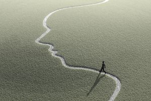 A figure walks along a path through a grassy expanse indicating a glide paths