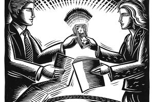 Man and woman exchanging papers and a stack of money.