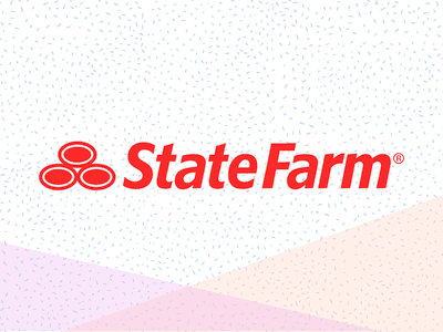 State Farm logo on a stylized graphic background with pink and orange triangles
