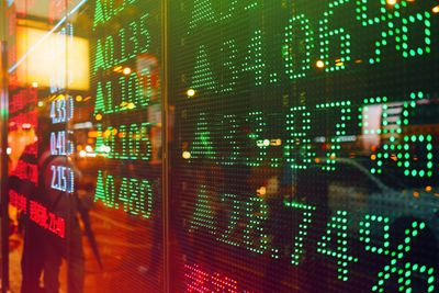 Stock market movement displayed on outside of building