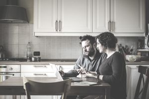 A couple looks over their mortgage interest tax deductions.