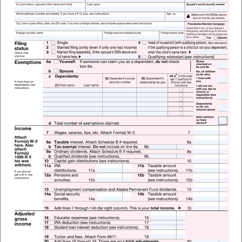 IRS Form 1040-A 2017 Page 1