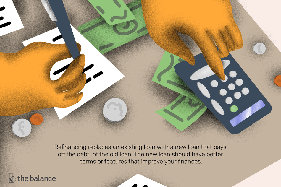 refinancing replaces an existing loan with a new loan that pays off the debt of the old loan. The new loan should have better terms or features that improve your finances.