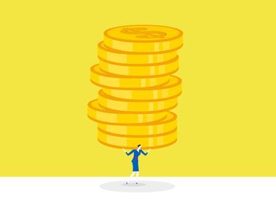 Cartoon woman holding up stack of yellow coins