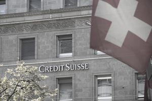 Facade of Swiss bank with Swiss flag, Bank Building of Credit Suisse, Bahnhofstrasse, Zurich, Canton of Zurich, Switzerland
