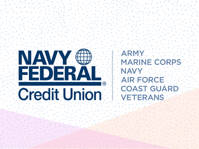 Navy Federal Credit Union Logo on a pastel and dot background
