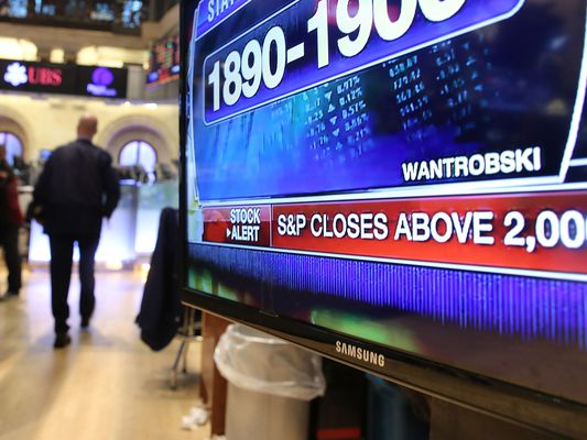 Close up of a television screen showing the S&P 500