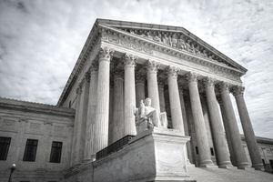 A view of the front portico of the United States Supreme Court building in Washington, DC.