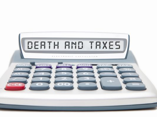 A calculator that says Death and Taxes