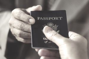 Man showing passport, close-up
