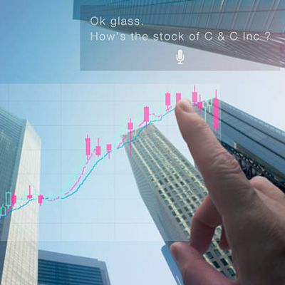 Futures day trader checking the movement of his C & C stock through smart glasses
