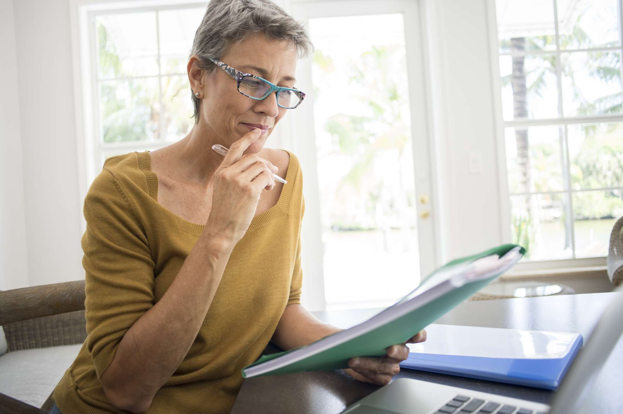 Woman looking at her retirement income plan