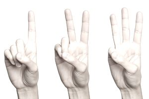 three hands holding up one, two and three fingers