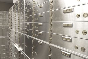 A wall of safety deposit boxes