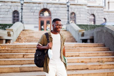 Happy young African American male student