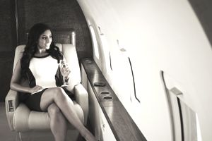 Woman on a private plane