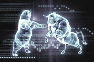 Binary code over glowing fighting bull and bear stock market symbols