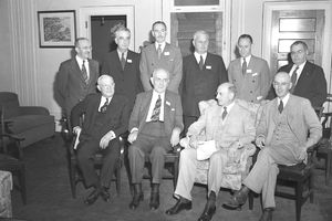 US delegates attending the United Nations Monetary and Financial Conference, also known as the Bretton Woods Conference, in Bretton Woods, New Hampshire