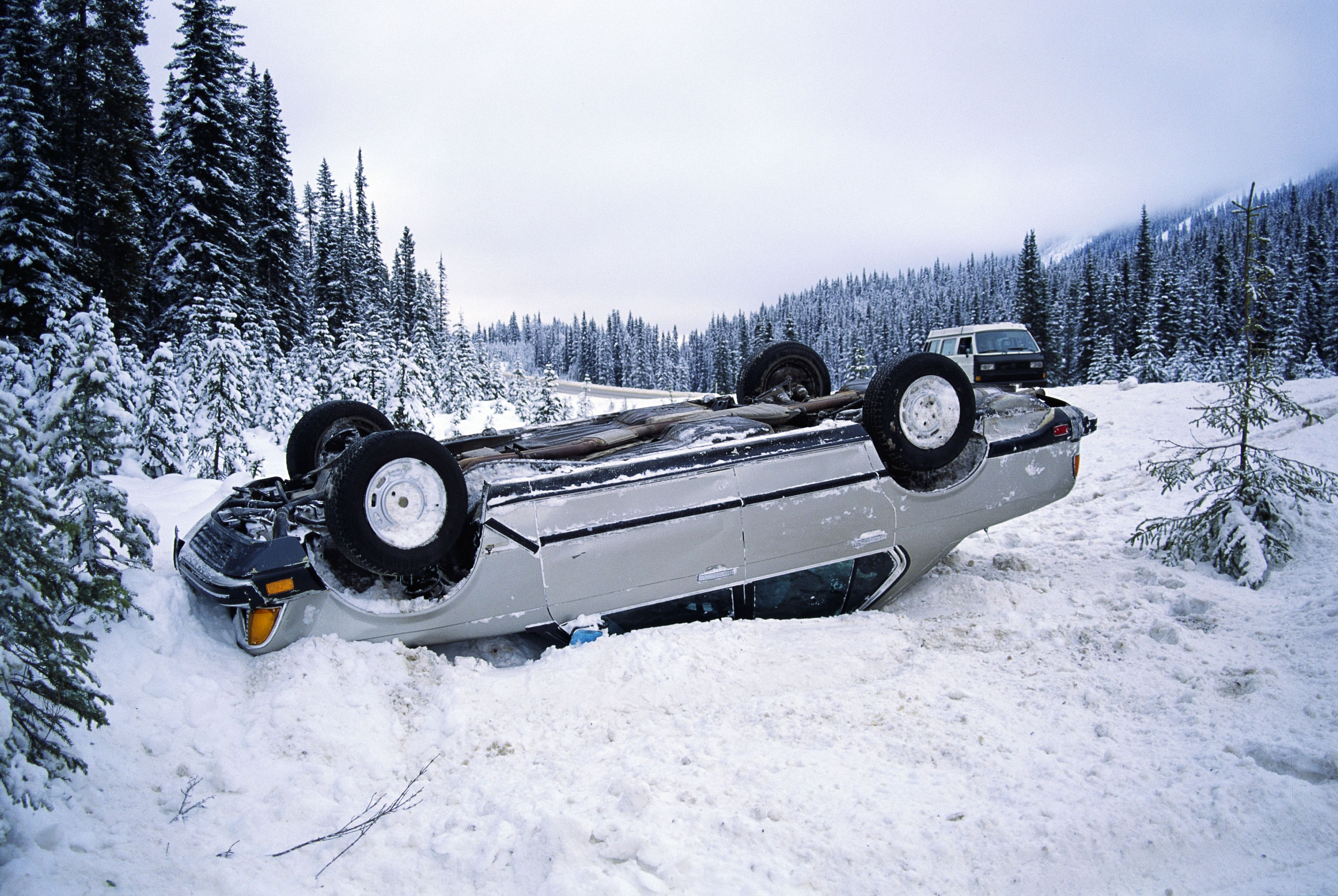 Car Overturned in Snow