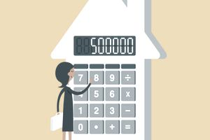 Illustration of a woman calculating PMI on a house-shaped calculator