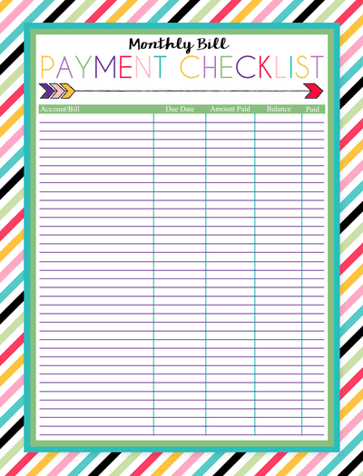 free printable monthly bill payment checklist