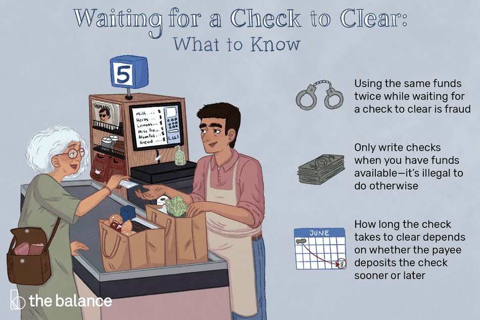 What to know about waiting for a check to clear. Using the same funds twice while waiting for a check to clear is fraud. Only write checks when you have funds available—it is illegal to do otherwise. How long the check takes to clear depends on whether the payee deposits the check sooner or later.