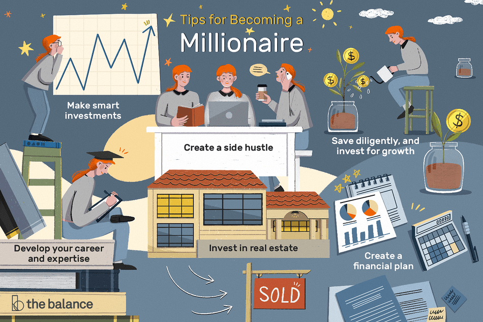tips for becoming a millionaire: make smart investments, develop your career and expertise, create a side hustle, invest in real estate, create a financial plan, save diligently and invest for growth