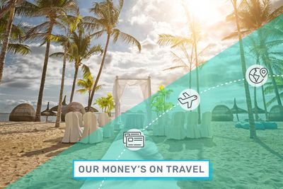 """Chairs and an altar rest on a tropical beach under an illustrated overlay that reads """"Our Money's on Travel."""""""