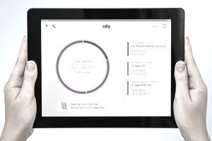 Ally bank account on a tablet