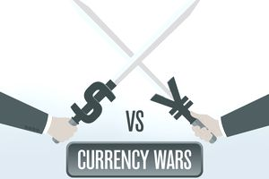 Illustration of swords clashing in a currency war