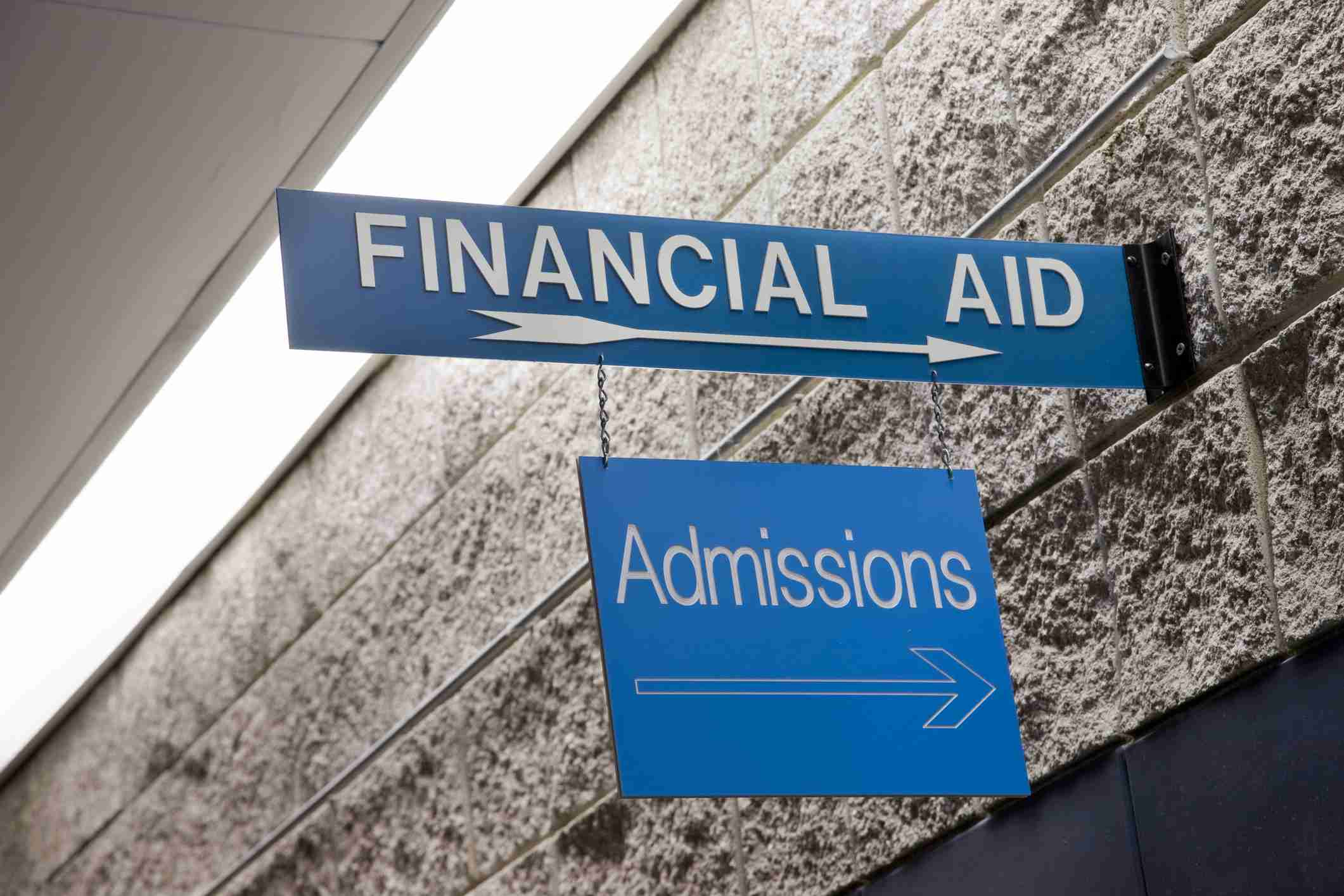 Directional financial aid and admissions signs hanging from a wall