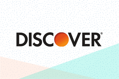 Discover log on a tri-color background