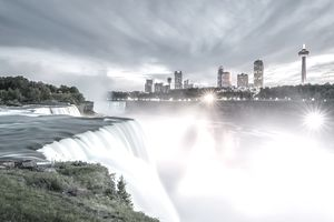 Image of Niagara Falls in Canada at sunset, a popular travel destination by car