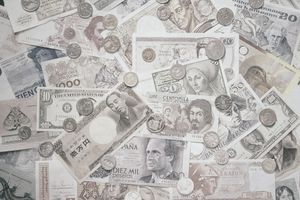 A closeup of international currency