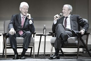 Former Presidents Bill Clinton and George W. Bush speak onstage