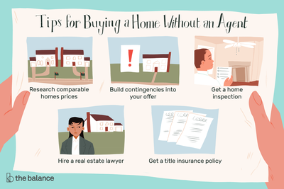This illustration shows tips for buying a home without an agent, including researching comparable home prices, building contingencies into your offer, getting a home inspection, hiring a real estate lawyer, and getting a title insurance policy.