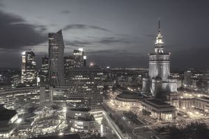 Night in Warsaw, Poland