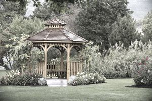 Gazebo in garden that would be covered by an additional structures homeowner's insurance policy.