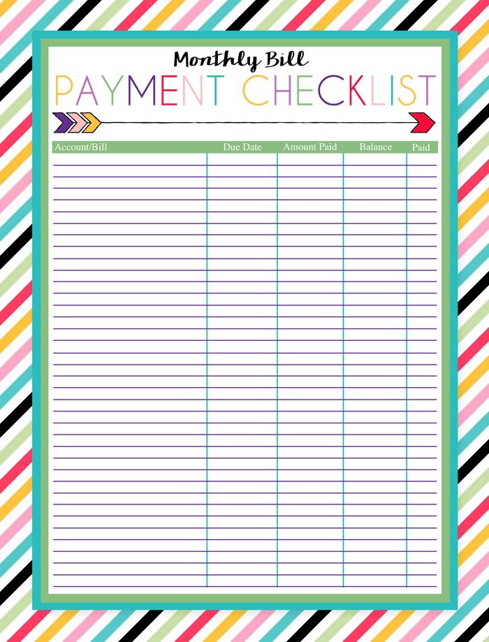 Free Printable Bill Calendar Templates